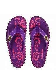 Women Flip Flops Gumbies Purple Hibiscus