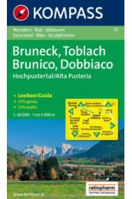 Kompass Bruneck, Toblach- Brunico, Dobbiaco 57- 1:50.000