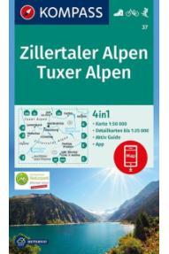 Landkarte Kompass Zillertaler Alpen, Tuxer Alpen 37