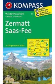 Mappa Kompass Zermatt- Saas Fee 117- 1:40.000