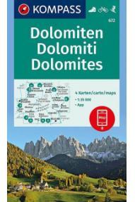 Kompass Wanderkarte Dolomiten 672- 1:35.000