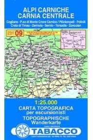 Map 09 Alpi Carniche, Carnia centrale - Tabacco