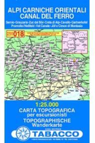 Map 018 Alpi Carniche Orientali, Canal del Ferro - Tabacco