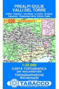 Zemljevid 026 Prealpi Giulie, Valli del Torre - Tabacco